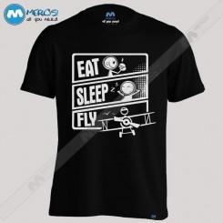 تیشرت طرح Eat Sleep Fly