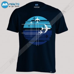 تیشرت طرح Geometric sky crossing airplanes