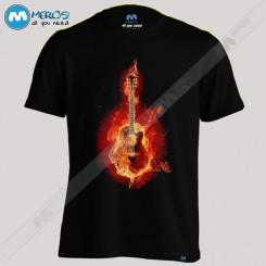 تیشرت طرح guitar in fire